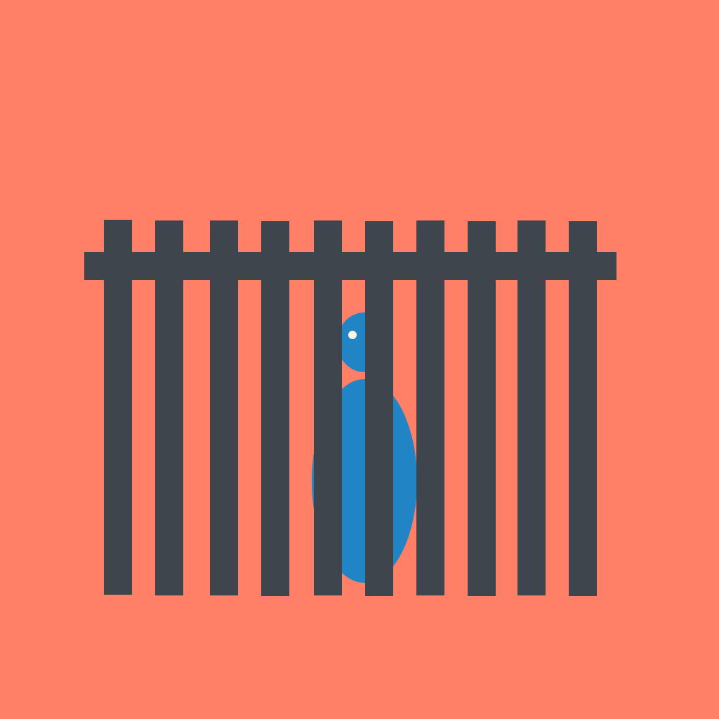 A stylised American standing behind a fence